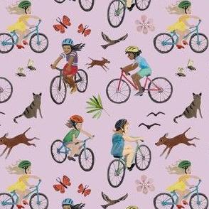 kids biking mauve