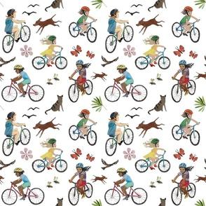 kids biking white