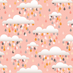 clouds an drops - pink