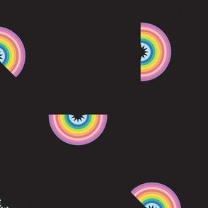 tossed rainbow on black - large