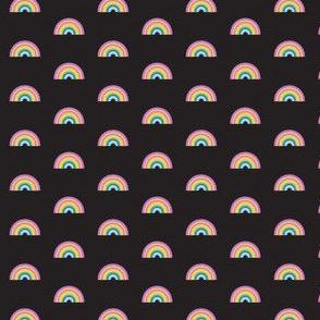 rainbow on black - tiny