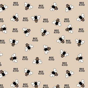 Bee kind little bees buzzing educate teach kindness text design beige yellow