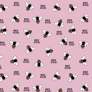 Bee kind little bees buzzing educate teach kindness text design pink rust
