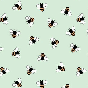 The minimalist bees boho style buzzing bumble bee insects summer garden mint green yellow