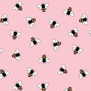 The minimalist bees boho style buzzing bumble bee insects summer garden pink girls