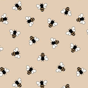 The minimalist bees boho style buzzing bumble bee insects summer garden sand beige yellow neutral