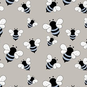 Busy buzzing bumble bees Scandinavian style minimalist boho bee design for kids nursery gray blue boys