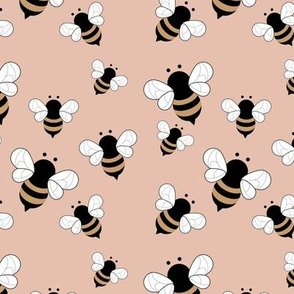 Busy buzzing bumble bees Scandinavian style minimalist boho bee design for kids nursery moody coral blush ochre
