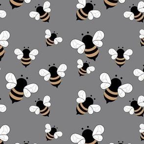 Busy buzzing bumble bees Scandinavian style minimalist boho bee design for kids nursery gray night ochre