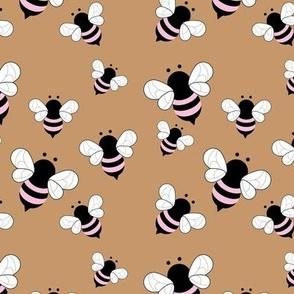 Busy buzzing bumble bees Scandinavian style minimalist boho bee design for kids nursery cinnamon pink girls