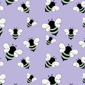 Busy buzzing bumble bees Scandinavian style minimalist boho bee design for kids nursery lilac purple mint