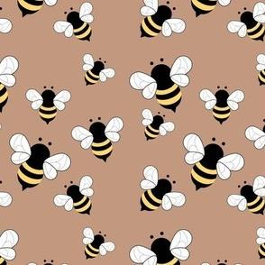 Busy buzzing bumble bees Scandinavian style minimalist boho bee design for kids nursery latte beige yellow