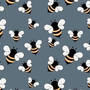 Busy buzzing bumble bees Scandinavian style minimalist boho bee design for kids nursery stone blue yellow