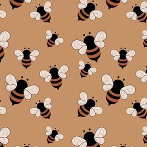 Busy buzzing bumble bees Scandinavian style minimalist boho bee design for kids nursery burnt orange cinnamon brown neutral