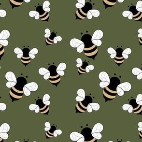 Busy buzzing bumble bees Scandinavian style minimalist boho bee design for kids nursery cameo green yellow