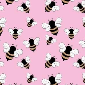 Busy buzzing bumble bees Scandinavian style minimalist boho bee design for kids nursery pink golden yellow