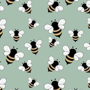 Busy buzzing bumble bees Scandinavian style minimalist boho bee design for kids nursery mint green sage yellow