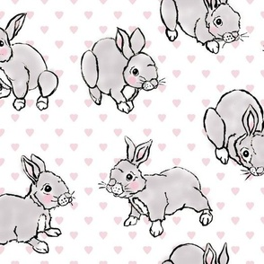 Baby rabbits with pink hearts