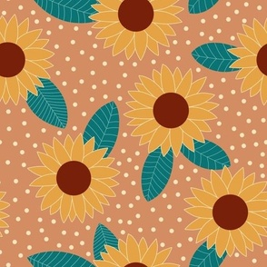 Sunflower and spots fall floral pattern