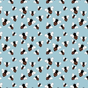 Busy buzzing bumble bees Scandinavian style minimalist boho bee design for kids nursery rust baby blue SMALL