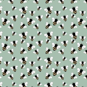 Busy buzzing bumble bees Scandinavian style minimalist boho bee design for kids nursery mint green sage yellow SMALL