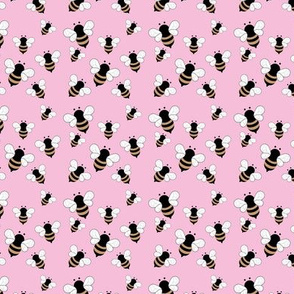 Busy buzzing bumble bees Scandinavian style minimalist boho bee design for kids nursery pink golden yellow SMALL