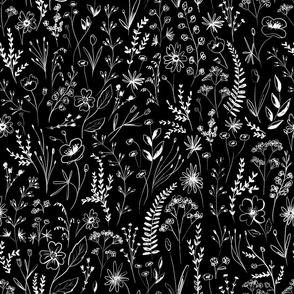 wildflowers garden black