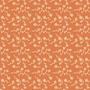 Cream sprigs of flowers on apricot background small