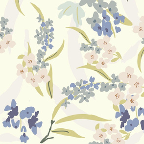 FF Pat 2 lavender blue flowers classic romantic style vintage inspired painterly leaves pastels farmouse style cottage core TerriConradDesigns