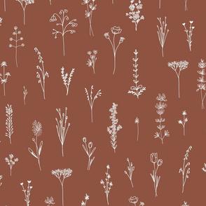 brown Wildflowers pattern