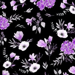 Floral pattern violet and black