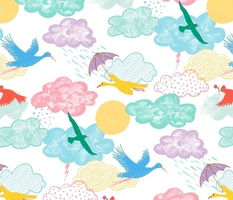 Pastel Sky with Birds - MEDIUM
