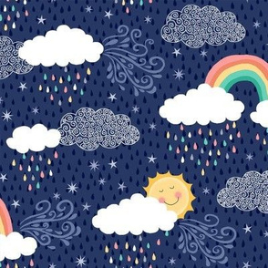 Rainbows and clouds - blue