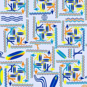 SUP Boarding Symbols on Blue