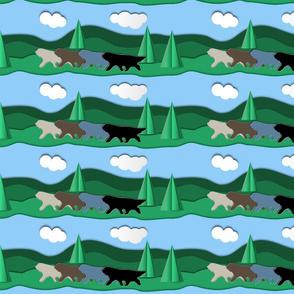 Beardies Landscape Paper Cutout