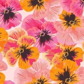 Pansies Orange and Pink