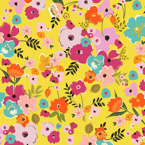 painterly floral bright floral rifle paper company multi colored floral cottage core modern floral TerriConradDesigns
