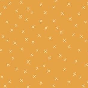 Delicate cross pattern on turmeric yellow