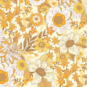 Wild Meadow Flowers Retro Yellow by Jac Slade