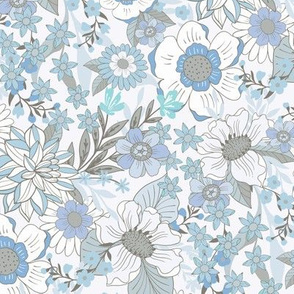 Wild Meadow Flowers soft blue by Jac Slade