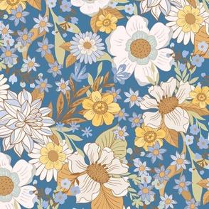 Wild Meadow Flowers Blue by Jac Slade