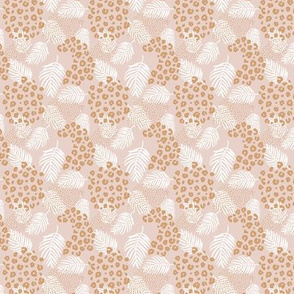 Palm leaves and animal panther spots leopard summer boho summer beige sand ochre yellow TINY