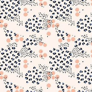 Spring summer panther print leopard spots and dots minimal abstract Scandinavian style pattern blue peach TINY