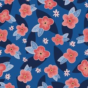 Blue & Peach Floral
