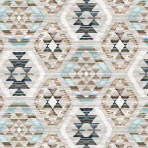 Woven Textured Kilim - duck egg blue, brown and cream