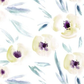 Spring in Portofino - watercolor tender florals - painterly flowers for modern home decor bedding nursery a225-3