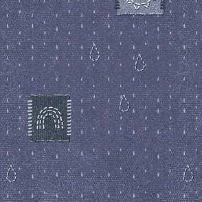 rainblow denim patches chambray blue large scale