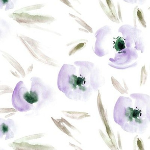 Amethyst Spring in Portofino - watercolor tender florals - painterly flowers for modern home decor bedding nursery a225-6