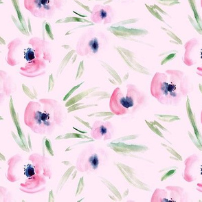 Spring in Portofino - blush pink - watercolor tender florals - painterly flowers for modern home decor bedding nursery a225-11