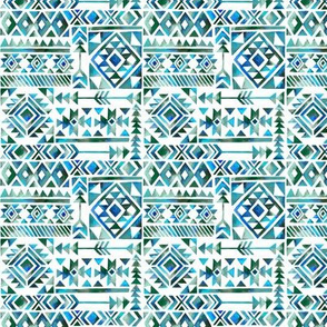 Tribal Summer / Blue Green Teal on White Background / Mini Scale